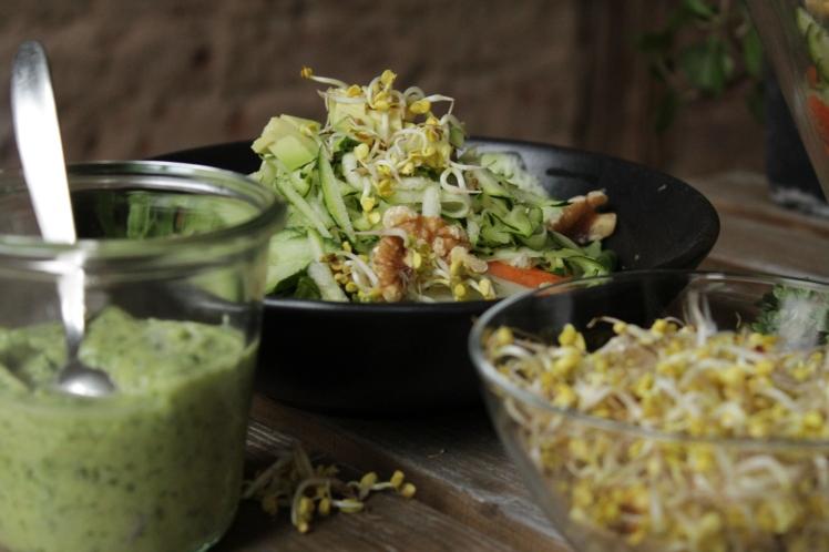 Veganer, eisenreicher Rohkost Salat mit grünem Avocadodressing und frischen Sprossen, Zucchni und Feldsalat ideal als Wintersalat